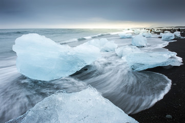 Jokulsarlon with icebergs beached