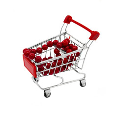 Shopping cart with red beads