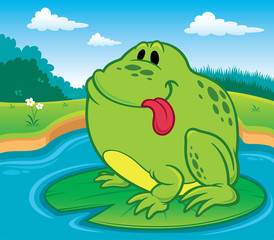 Vector illustration of frog cartoon