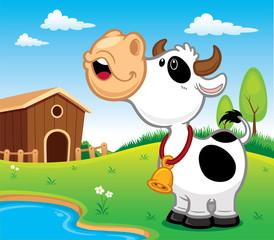 Vector illustration of Cartoon Cow