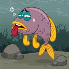 Vector illustration of Cartoon fish sick