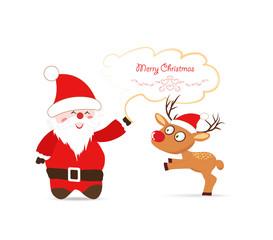 Santa claus and deer greeting card
