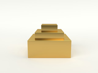 Golden podium with three steps. 3D isolated