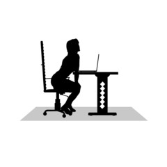 girl sitting at the computer vector