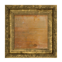 Ruined golden frame with wooden interior