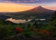 Mt. Fuji glows in the morning sun at Kawaguchiko