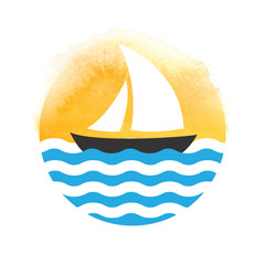 Sailing boat on the water, vector logo
