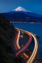Night view of Mountain Fuji and Expressway, Shizuoka, Japan