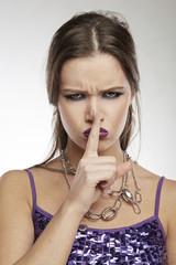Woman Making Faces: Psssssst