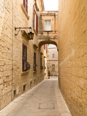 Characteristic alley in Mdina, the silent city of Malta