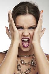 Woman Making Faces: Panic