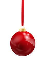 Shiny Red Vector Bauble (christmas icon symbol)