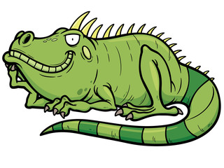 Vector illustrations of Cartoon green iguana
