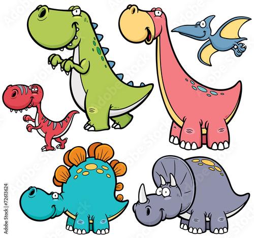 fototapeta na ścianę Ilustracji wektorowych dinozaurów kreskówek