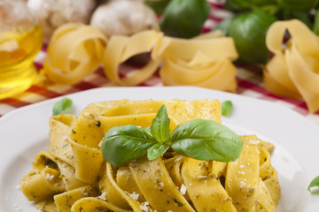 Pasta tagiatelle with pesto