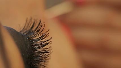 makeup on eyes and eyelashes