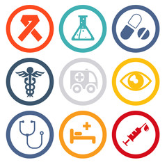 Health and medical care and isolated icons set modern trendy