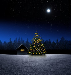 Hütte mit Christbaum bei Nacht