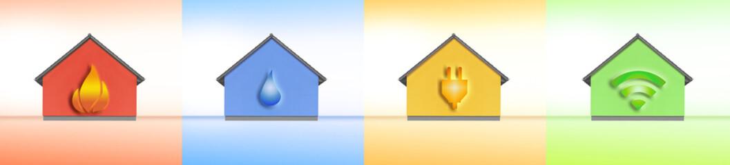 Gas, Wasser Strom, Internet im Haus