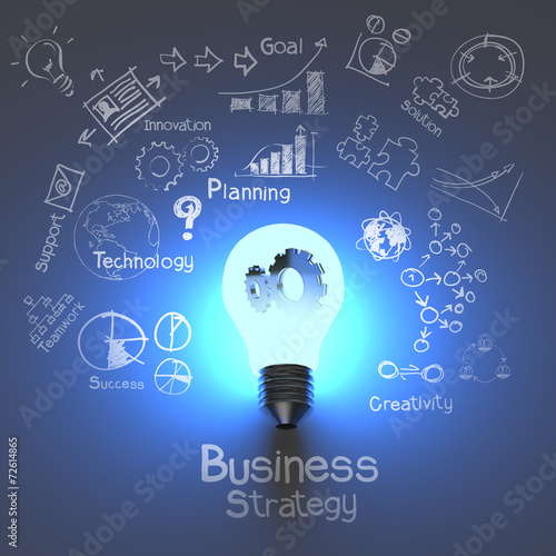 Leinwanddruck Bild business strategy and  light bulb with gears as concept