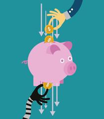 Hand stealing money from piggy bank. flat design. vector