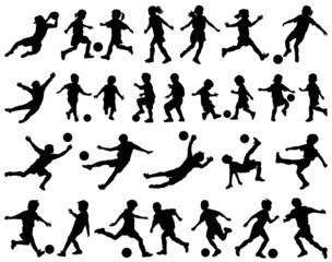 Children playing soccer vector silhouettes