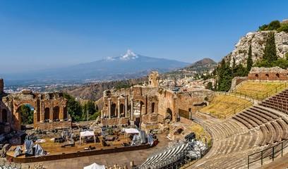 Greek theater,Taormina and Etna, Sicily.