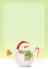 Funny snowman with candy cane