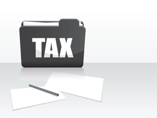 black and white tax folder and paper