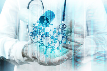 Double exposure of scientist doctor hand holds virtual molecular