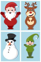 santa claus, rudolph, elf and snowman cartoon characters