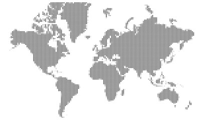 Dotted World map. Vector mosaic.