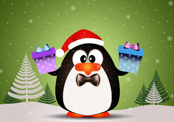 Penguin with Christmas gifts
