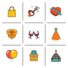 Isolated line icons set Gift, Party, Birthday  modern trendy