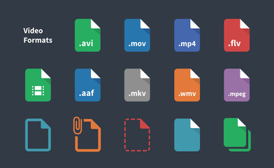 Set of Video File Formats icons.