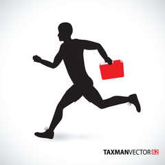 taxman running with a folder