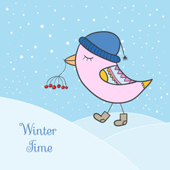 Winter pink bird. Bird in clothing with berry