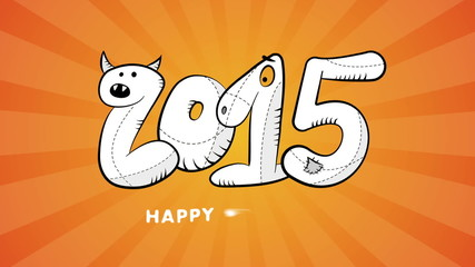 happy new year 2015 hand drawn video background. full hd.
