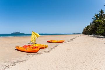 Tropical Kayak Canoes Beach Ocean