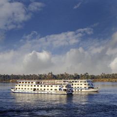 Tourist boats on the river Nile, Egypt