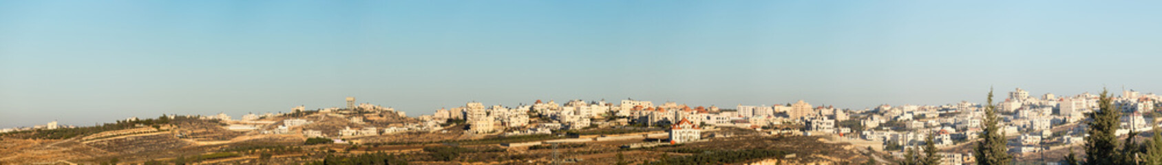 Wide panorama of houses on the outskirts of Hebron