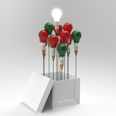pencil light bulb 3d as think outside of the box and merry's chr