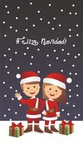 Feliz Navidad con niños disfrazados de Papá Noel