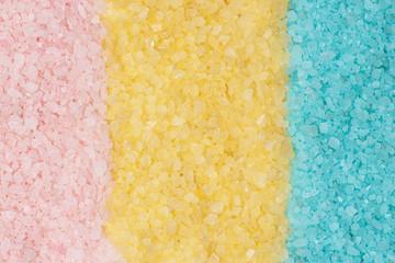 pink blue yellow bath salt background