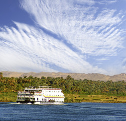 Tourist boat on the river Nile, Egypt
