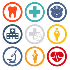 Medical care and health isolated icons set modern trendy vector
