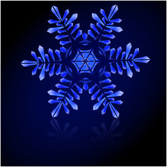 blue snowflake of ice crystals on a beige background
