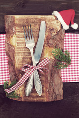 Knife and fork in Christmas table setting