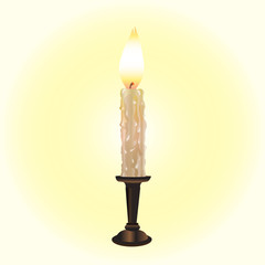 wooden brown podsvechniks burning white candle