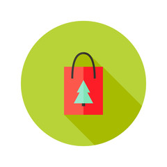 Pack with Christmas Tree Flat Icon